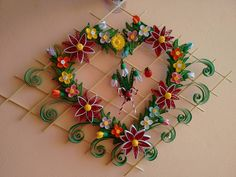 DIY Paper Quilling, Beautiful Heart-Shaped Wall Hanging for Room Decor Ideas, Paper Quilling Art. Top 10 quilling designs in my channel : . Arte Quilling, Quilling Paper Craft, Quilling Designs, Paper Crafts Wedding, Craft Wedding, Papier Diy, Quilled Creations, Newspaper Crafts, Newspaper Wall
