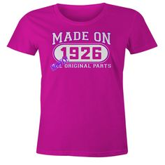 90th Birthday Gift T-Shirt - Made In 1926 Mostly Original Parts - Short Sleeve Womens T-Shirt