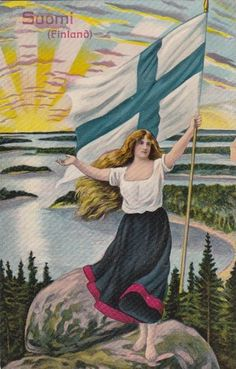 Antique Suomi Finland patriotic flag pretty lady patriotic postcard