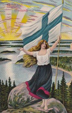 Antique Suomi Finland patriotic flag pretty lady patriotic postcard