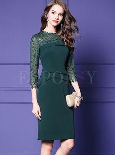 Fashion Green O-neck Embroidered Sequin Dress Dress For Short Women, Short Dresses, Formal Dresses, Sequin Dress, Bodycon Dress, Royal Clothing, Chanel Fashion, Shoulder Sleeve, Frosting