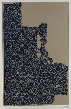 Cloth Fragment Cotton, block printed and resist dyed India 13th - 14th C Met Museum of Art