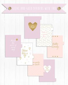 Printable Lilac and Gold Dividers with Tab (Kikki k Lilac style) Size: A5 Tab: Custom (not written) Adding $ 3, you will have written in