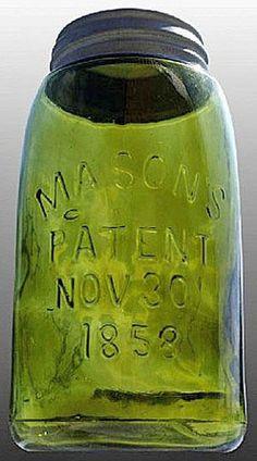 Mason's, Patent Nov 30th 1858, Olive Green, QuartA quart Mason's Patent Nov 30th 1858 fruit or canning jar in olive green