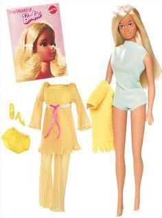 2009 Malibu Barbie is the fourth doll in the My Favorite Barbie series, issued in 2009 in honor of Barbie's 50th anniversary. This is a giftset that includes a faithful reproduction of Maliu Barbie wearing her original aqua blue swimsuit, round sunglasses and yellow towel and also includes the mod Barbie ensemble, Lemon Kick #1465 (1970).