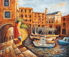 """Hand Painted Framed Paintings Mediterranean Sea Oil Painting Italy Venice, Size: 24"""" x 20"""", $88. Url: http://www.oilpaintingshops.com/hand-painted-framed-paintings-mediterranean-sea-oil-painting-italy-venice-1888.html"""