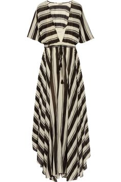 Striped cotton-blend voile maxi dress
