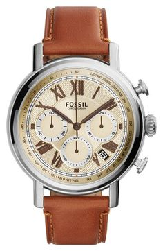 Fossil 'Buchanan' Chronograph Leather Strap Watch, 42mm