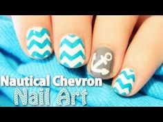 Nail Art How To: Nautical Chevron Nail Art   TotallyCoolNails   Video Tutorial   Anchors   Teal   Totally Cool Nails   Nail It! Magazine