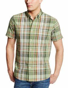 GH Bass Men's Short Sleeve Brushed Pine Madras Shirt