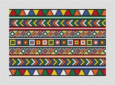 Crochet Border Stitch A brightly coloured abstract cross stitch pattern inspired by the beadwork of Africa. Stitch the whole pattern for a bright picture or cushion cover, or use parts of it to make a smaller pattern or borders.