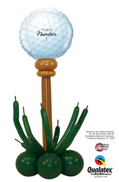 Throwing a party for a golf fan? These adorable Tee time Columns are what you need. They are topped with a gold ball Microfoil balloon. #qualatex #balloon #golf