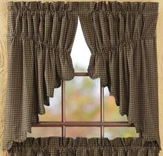 Add a cute country look to any room in your home with our Kettle Grove Scalloped Lined Prairie Swag Curtains! https://www.primitivestarquiltshop.com/products/kettle-grove-scalloped-lined-prairie-swag-curtains #countrystylecurtaikns