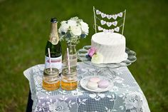 Table Setting Anniversary Shoot with Cake, Macaroons, and Cider