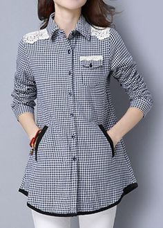 Plaid Print Lace Panel Pocket Navy Shirt | Rosewe.com - USD $32.77