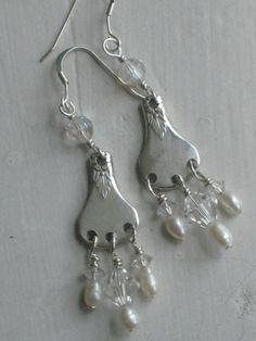 Upcycled Silverplate Butter Knife Handle Chandelier Earrings with Crystals  and Pearls Antique 1930s Art Deco (00363-LV)