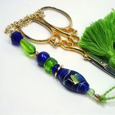 Lime Cobalt Beaded Scissor Fob by TJBdesigns on Etsy, $18.00