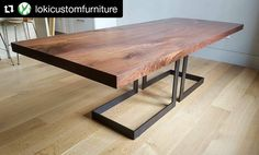 This is absolutely stunning!  #Repost @lokicustomfurniture (@get_repost)  ・・・  Walnut dining table got delivered today....the top is a bookmatched pair of slabs and then I squared off all the edges. Base is blackened steel flatbar. @berkshire_products coming through again with some beautiful walnut.
