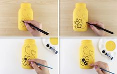 Leave those winter blues outside and bring in the bright color of yellow! Just BEE-cause! Large Mason Jars, Painted Mason Jars, Mason Jar Crafts, Mason Jar Diy, Mommy To Bee, Bee Party, Dollar Tree Crafts, Bee Theme, Bottles And Jars