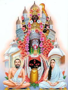 Goddess Kali of Kalighat, Tarapith and Dakshineshwar Flanked by Sri Ramkrishna and Sarada Maa - Hindu Posters (Reprint on Paper - Unframed) Indian Goddess Kali, Goddess Art, Durga Goddess, Indian Gods, Kali Puja, Kali Hindu, Hindu Art, Maa Durga Image, Durga Maa