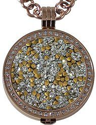 Quiges - Stainless Steel Locket with Chain Necklace and Interchangeable Coin 33mm - Multicolor