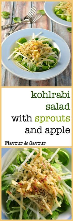 Crisp Brussel sprout leaves, crunchy kohlrabi and sweet juicy apple give all the freshness of a summertime salad on a winter day.