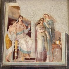 Woman's Toilette fresco  The subject of the scene is uncertain: dressing a priestess? a bride? An older woman and a younger look on. The hair of the central figure  is being dressed by an attendant. 79 CE. Found in the palaestra of the Forum Baths at Herculaneum.  Naples, National Archaeological Museum