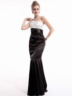 ベージュブラック&ホワイト!サテンのイブニングロングドレス♪ - ロングドレス・パーティードレスはGN|演奏会や結婚式に大活躍!