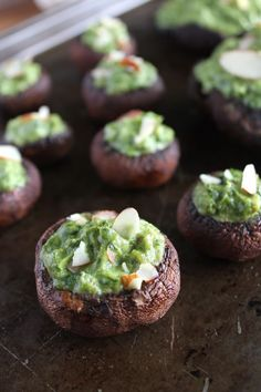 Spinach Avocado Stuffed Portobellos from Vegan Yumminess. Makes a great appetizer or side dish at parties.