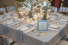 silver and blue wedding table decorations | Coastal Beach Destination Wedding Table Decorations in Blue Color ...