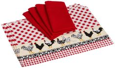 Amazon.com - DII Home to Roost Linen Set, Includes 4 Chickens Printed Placemats and 4 Red Cider Napkins - Kitchen Linen Sets #AmazonCart #DII #DesignImports