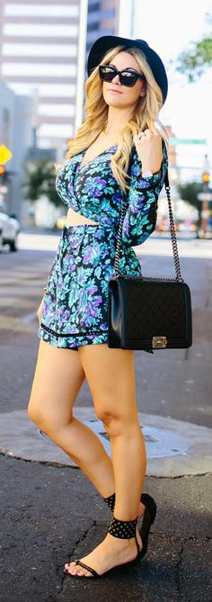 #jumpsuit #sandals #bag Everyday New Fashion: Floral Playsuit