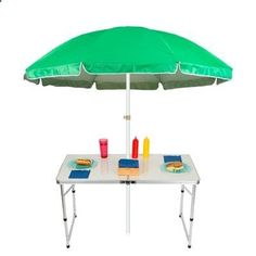 Trademark Innovations 6.5 Adjustable Portable Folding Camp Table Beach Umbrella Color: Green