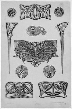 Bijoux modernes (c. from a series of Art Nouveau designs by Rene Beauclair joyas únicas para tu boda Motifs Art Nouveau, Design Art Nouveau, Art Nouveau Pattern, Bijoux Art Nouveau, Art Nouveau Jewelry, Art And Illustration, Jewelry Illustration, Jewellery Sketches, Jewelry Drawing