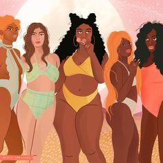 Nancy Chalmers Illustrations — sundays at the pink palm Black Girl Art, Black Women Art, Black Art, Art Girl, Feminist Art, Feminist Quotes, Positive Body Image, Magic Art, Female Art