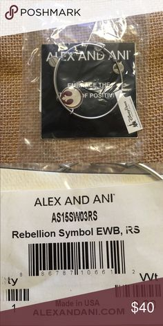 Alex and Ani Star Wars Bangle Bracelet NWT - Rebel Silver Alex and Ani Bangle Bracelet with Star Wars Rebellion (reddish) Symbol.  NWT!  Exclusive to Disney Parks. Looks great alone or paired with other Alex and Ani Bangles! Alex & Ani Jewelry Bracelets