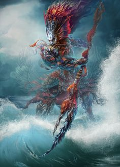 """Custom token for the trading card game """"Magic the Gathering"""". Mythological Creatures, Fantasy Creatures, Sea Creatures, Fantasy Illustration, Character Illustration, Dnd Characters, Fantasy Characters, Underwater Creatures, Water Element"""