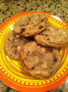 Chocolate chip cookies made with coconut oil--no butter, but you won't miss it. These have the slightest hint of coconut, but my kids didn't notice and devoured them!