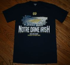 University of NOTRE DAME Irish Football Stadium T-Shirt blue Tee-Men Medium/golf