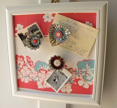 Cover a bulletin board with vintage tablecloth