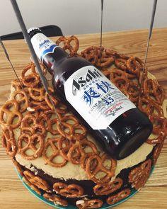 Beer and pretzel cake for our resident beer man Pretzel, Crisp, Waffles, Beer, Breakfast, Cake, Instagram, Food, Root Beer