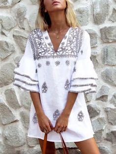 Floryday Vestidos, Manga 3 4, Bohemian Mode, Maxi Robes, Mini Dress With Sleeves, Spring Skirts, Hippie Outfits, V Neck Dress, Boho Dress