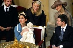 R4R Saturday Spam: Royal Christenings #1- Prince Christian Valdemar Henri John of Denmark:  front-Crown Princess Mary holding Prince Christian and Crown Prince Frederik; back-his godparents Crown Prince Haakon and Crown Princess Mette-Marit of Norway and Crown Princess Victoria of Sweden look on, Christiansborg Palace Chapel, January 21, 2006.