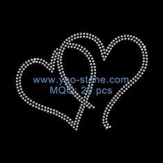 Double Heart Rhinestone Motifs For Girl Dress