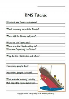 Titanic Research Worksheets