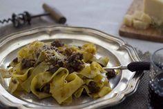Wild boar sauce with ribbon sauce (Pappardelle al ragù di cinghiale) - Toscana,  recipe on Food52