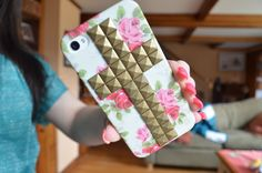 Super cute! #Cross #Studded #Floral Case <333