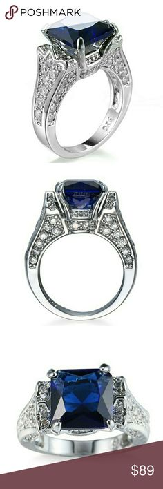 Beautiful lab created blue sapphire ring This is a beautiful lab created blue sapphire in 925 sterling silver. Jewelry Rings
