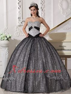 Sequined and Tulle Quinceanera Dress