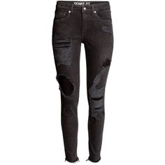 Skinny Ankle Trashed Jeans $39.99 ($40) ❤ liked on Polyvore featuring jeans, pants, bottoms, super distressed skinny jeans, destroyed jeans, destructed skinny jeans, skinny fit jeans and ripped jeans